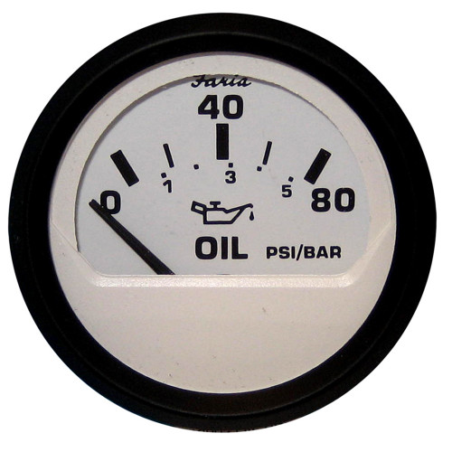 "Faria Euro White 2"" Oil Pressure Gauge - 80PSI"
