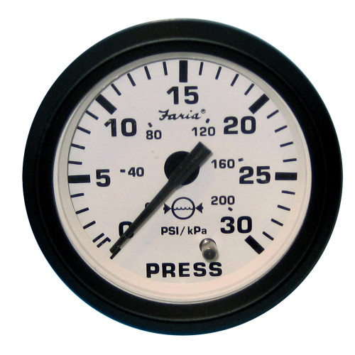 "Faria Euro White 2"" Water Pressure Gauge Kit - 30 PSI"