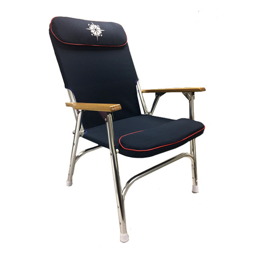 Navy Padded Aluminum Deck Chair - High Back