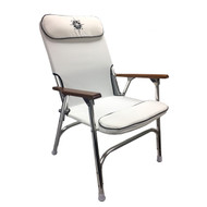 White Padded Aluminum Deck Chair - High Back
