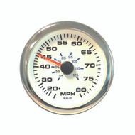 Sierra 65626SSFP White Premier Pro Series Speedometer