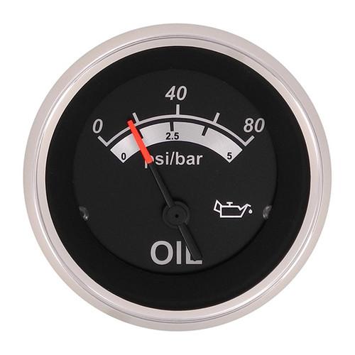 Sierra 67022P Black Sterling Series Oil Pressure Gauge
