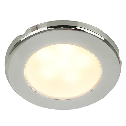 "Hella Marine EuroLED 75 3"" Round Screw Mount Down Light - Warm White LED - Stainless Steel Rim - 24V"