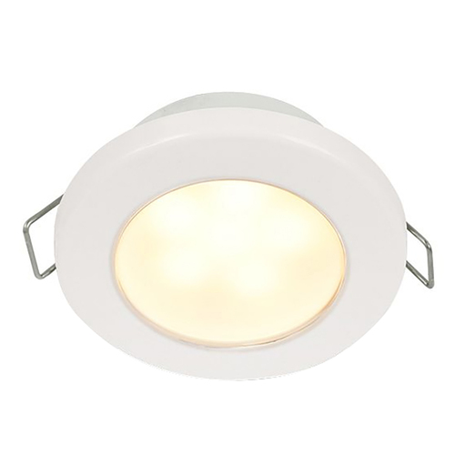 "Hella Marine EuroLED 75 3"" Round Spring Mount Down Light - Warm White LED - White Plastic Rim - 24V"