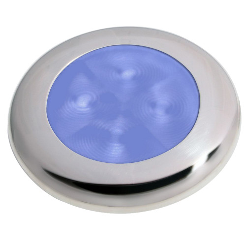 Hella Marine Slim Line LED 'Enhanced Brightness' Round Courtesy Lamp - Blue LED - Stainless Steel Bezel - 12V