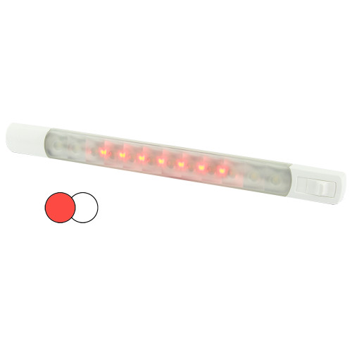 Hella MarineSurface Strip Light w\/Switch - White\/Red LEDs - 12V