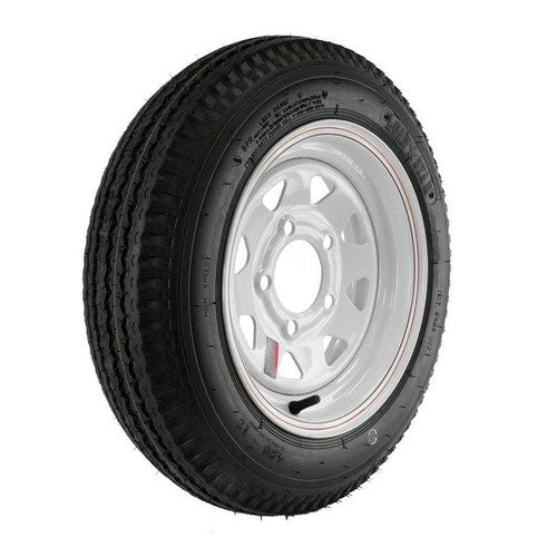 "Kenda Loadstar 480-12 5-Lug 12"" Custom Spoke Trailer Tire - White"