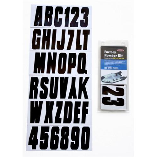 Inflatable Boat Registration Letter and Number Kit - Black