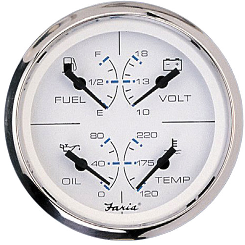 """Faria Chesapeake SS White 4"""" Multifunction 4 in 1 Combination Gauge w\/Fuel, Oil, Water  Volts"""