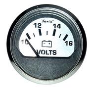 "Faria Spun Silver 2"" Voltmeter (10-16 VDC)"