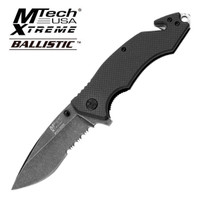 "MTech Xtreme Ballistic Assisted Opening Rescue Knife- FAST assisted opening action. 4 7/8"" closed. 3 1/2"" 440c part serrated blade with stone washed finish. Black G-10 handles with checkerboard pattern. Built in seat belt cutter and glass breaker w/ lanyard hole. Metal pocket clip."