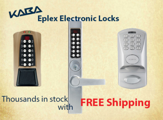 Kaba Eplex makes Electronic Locks that include Prox Readers, Keypads, key overrides in all keyways plus much more. 1000's in stock ready for free shipping!