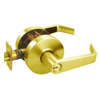 RL12-SR-03 Arrow Cylindrical Lock RL Series Storeroom Lever with Sierra Trim Design in Bright Brass