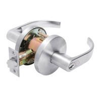 W711GD-Q-625 Falcon W Series Cylindrical Apartment Entry Lock with Quantum Lever Style in Bright Chrome Finish