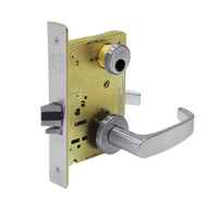 LC-8267-LNL-26D Sargent 8200 Series Institutional Privacy Mortise Lock with LNL Lever Trim Less Cylinder in Satin Chrome