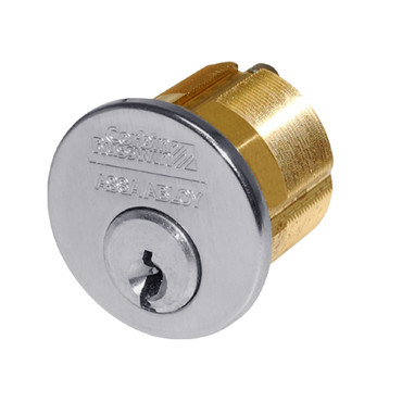 1000-112-A01-6-L4-626 Corbin Conventional Mortise Cylinder for Mortise Lock and DL3000 Deadlocks with Cloverleaf Cam in Satin Chrome Finish