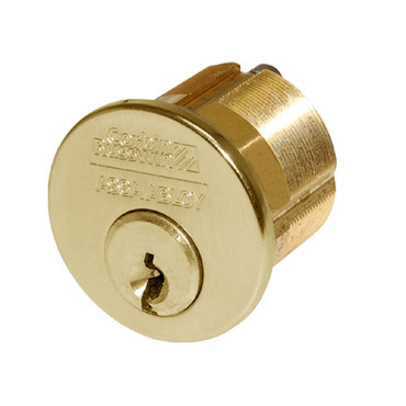 1000-112-A02-6-59A1-605 Corbin Conventional Mortise Cylinder for Mortise Lock and DL3000 Deadlocks with Straight Cam in Bright Brass Finish