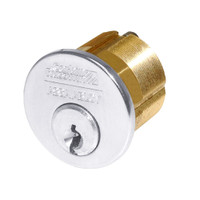 1000-200-A01-6-D3-625 Corbin Conventional Mortise Cylinder for Mortise Lock and DL3000 Deadlocks with Cloverleaf Cam in Bright Chrome Finish
