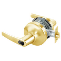 B-MO4708LN-605 Yale 4700LN Series Single Cylinder Classroom Cylindrical Lock with Monroe Lever Prepped for SFIC in Bright Brass