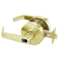 B-AU4607LN-605 Yale 4600LN Series Single Cylinder Entry Cylindrical Lock with Augusta Lever Prepped for SFIC in Bright Brass