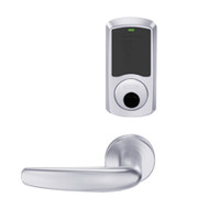 LEMS-GRW-L-07-625-00C Schlage Less Cylinder Storeroom Wireless Greenwich Mortise Lock with LED Indicator and Athens Lever in Bright Chrome