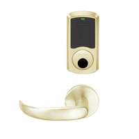 LEMS-GRW-L-17-606-00C Schlage Less Cylinder Storeroom Wireless Greenwich Mortise Lock with LED Indicator and Sparta Lever in Satin Brass