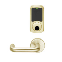 LEMS-GRW-L-03-606-00C Schlage Less Cylinder Storeroom Wireless Greenwich Mortise Lock with LED Indicator and Tubular Lever in Satin Brass