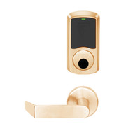 LEMS-GRW-L-06-612-00B Schlage Less Cylinder Storeroom Wireless Greenwich Mortise Lock with LED Indicator and Rhodes Lever in Satin Bronze