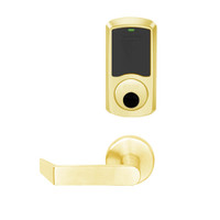 LEMS-GRW-L-06-605-00C Schlage Less Cylinder Storeroom Wireless Greenwich Mortise Lock with LED Indicator and Rhodes Lever in Bright Brass