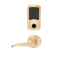 LEMS-GRW-L-12-612-00B-LH Schlage Less Cylinder Storeroom Wireless Greenwich Mortise Lock with LED Indicator and 12 Lever in Satin Bronze