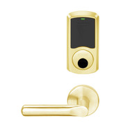 LEMS-GRW-L-18-605-00C Schlage Less Cylinder Storeroom Wireless Greenwich Mortise Lock with LED Indicator and 18 Lever in Bright Brass