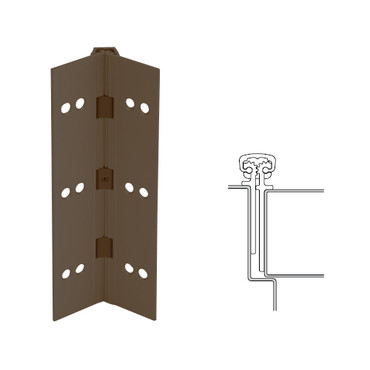026XY-313AN-83-HT IVES Full Mortise Continuous Geared Hinges with Hospital Tip in Dark Bronze Anodized