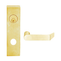 L9080L-06N-605 Schlage L Series Less Cylinder Storeroom Commercial Mortise Lock with 06 Cast Lever Design in Bright Brass