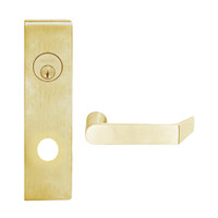 L9080L-06N-606 Schlage L Series Less Cylinder Storeroom Commercial Mortise Lock with 06 Cast Lever Design in Satin Brass