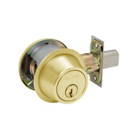 D241P-605 Falcon Single Cylinder with Turn Deadbolt Lock in Bright Brass