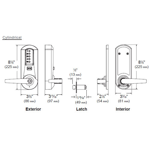 5021XKWL-03-41 Simplex Pushbutton Lever Lock with Kaba key Override ...