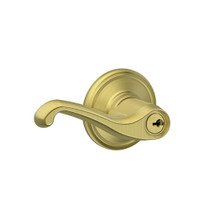 F80-FLA-RH-605 Schlage F Series - Flair Lever style with Storeroom Lock Function in Bright Brass