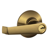 F80-ELA-609 Schlage F Series - Elan Lever style with Storeroom Lock Function in Antique Brass
