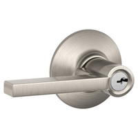 F80-LAT-619 Schlage F Series - Latitude Lever style with Storeroom Lock Function in Satin Nickel