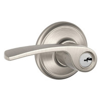 F80-MER-LH-619 Schlage F Series - Merano Lever style with Storeroom Lock Function in Satin Nickel
