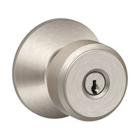 F51A-BWE-619 Schlage F Series - Knob Bowery Style with Keyed Entrance Lock Function in Satin Nickel
