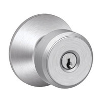 F80-BWE-626 Schlage F Series - Knob Bowery Style with Storeroom Lock Function in Satin Chrome