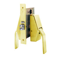 HL6-9486-US3 Glynn Johnson HL6 Series Hotel Lock Thumbturn Function Push and Pull latch with Mortise Lock in Bright Brass Finish
