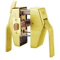 PL8-L-7-605 Glynn Johnson PL8 Series Privacy Function Pull Side Thumbturn with Lead Lining in Bright Brass Finish