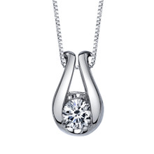"14K White Gold Diamond Pendant 0.33 DTW w/18"" Box Chain"