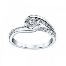14K White Gold Half Bezel & Prong Set Engagement Ring 0.50 DTW