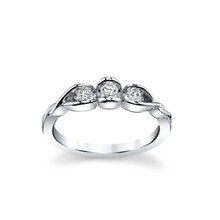 14K White Gold Half Bezel Set 3 Stone Diamond Ring 0.25 DTW