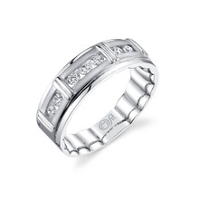 14K White Gold Men's Mfit Diamond Channel Set Band 0.50 DTW