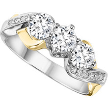 14 Karat Two Tone 3 Stone Criss Cross Diamond Ring 1.00 DTW