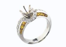 14 Karat  White Gold .78 ctw .40 dtw  Diamond and Yellow Sapphire Semi Mount